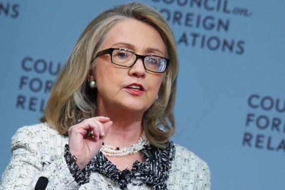 Clinton speaking on Thursday. (Mandel Ngan/AFP/Getty)
