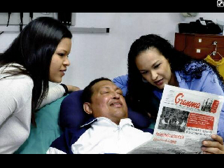 Venezuela strongman Chavez in Cuba with his daughters. Very ill but clings on.